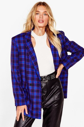 Nasty Gal Womens We're Just Checkin' Oversized Shoulder Pad Blazer - Blue - 4