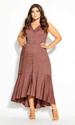 City Chic Sweetie Button Maxi Dress - nutmeg