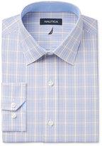 Nautica Men's Classic/Regular Fit Slate Blue/Khaki/White Plaid Dress Shirt