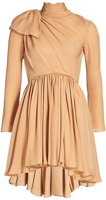 KHAITE Constance Gathered Silk Fit-&-Flare Dress