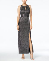 R & M Richards Metallic Knit Halter Gown