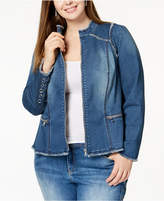 INC International Concepts I.N.C. Plus Size Lace-Up Denim Jacket, Created for Macy's