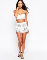 French Connection Embroidered Cut Out Beach Shorts