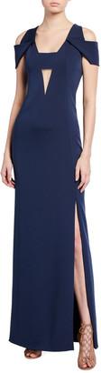 Akris Silk Cold-Shoulder Gown, Navy
