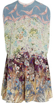 Valentino Printed Silk Crepe De Chine Mini Dress - Light blue