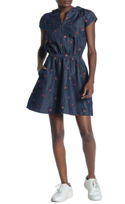 Love Moschino Abito Embroidered Ladybug Chambray Hooded Dress