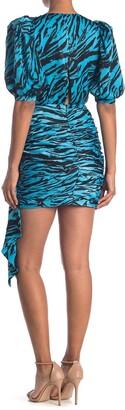Ronny Kobo Monica Asymmetrical Cut Tiger Printed Mini Dress