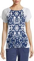 Liz Claiborne Short-Sleeve Printed Raglan Tee - Tall