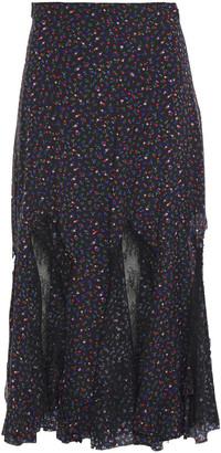 McQ Chantilly Lace-paneled Floral-print Silk Crepe De Chine Midi Skirt