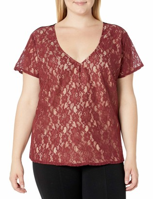 Single Dress Women's Plus Size Lace Front T-Shirt
