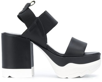 Pollini Colour Block Platform Sandals