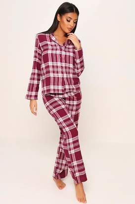 I SAW IT FIRST Burgundy Brushed Check Button Through Pyjama Set