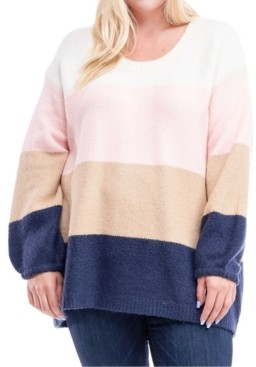 Fever Plus Size Multicolored Colorblocked Sweater