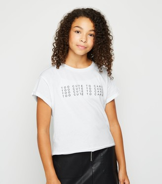 New Look Girls Too Cute To Care Slogan T-Shirt