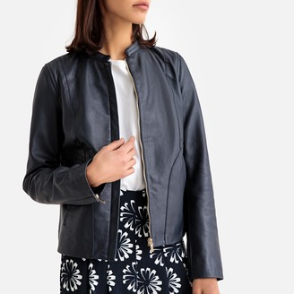 La Redoute Collections Short Leather Bomber Jacket with Welt Pockets