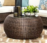 Pottery Barn Torrey All-Weather Wicker Round Coffee Table - Espresso