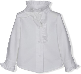 Lapin House Ruffle-Trim Oversized Bow Shirt