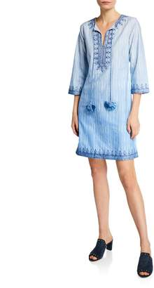 Bella Tu Heather Split-Neck 3/4-Sleeve Embroidered Cotton Dress w/ Tassel Ties