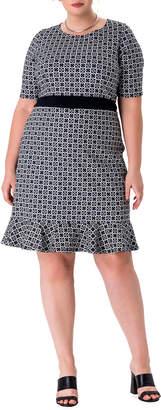 Leota Plus Size Gia Flounce-Hem Sheath Dress