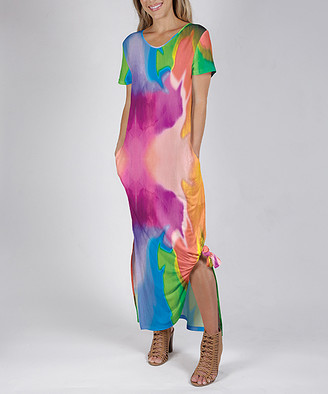 Beyond This Plane Women's Maxi Dresses PNK - Pink & Green Brushstroke Side-Slit Pocket Maxi Dress - Women & Plus