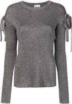 RED Valentino lurex bow sleeve sweater - women - Viscose/Metallic Fibre - XS