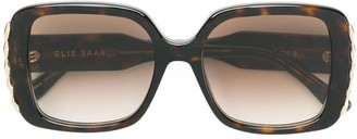 Elie Saab Metal Embellished Square Sunglasses