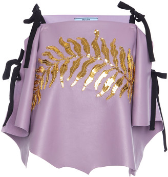 Prada Ribbon-Detailed Sequined Leather Top