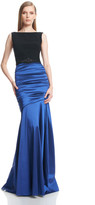 Theia Sleeveless Jeweled Belt Ruched Gown 882629