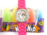 Pavel Time Hello Kitty Watch Hot Pink Silicone Band Crystal Dial Girls Watch Model number 1072