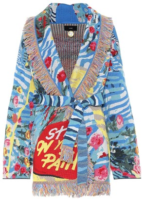 Alanui Love is Universal wool-blend jacquard cardigan
