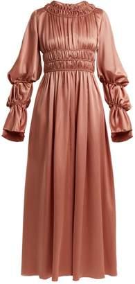 Roksanda Zoya Gathered Silk-satin Dress - Womens - Pink