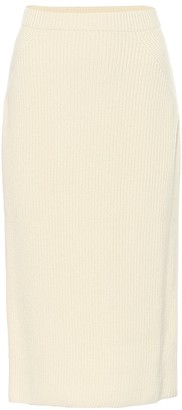 Loro Piana Lexington ribbed-knit cashmere midi skirt