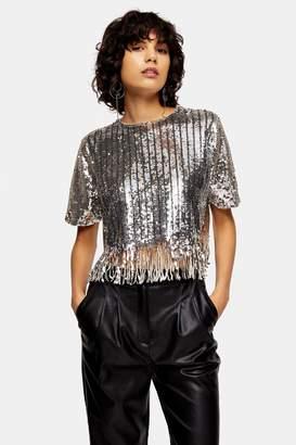 Topshop Womens Silver Stripe Sequin Fringe Top - Silver