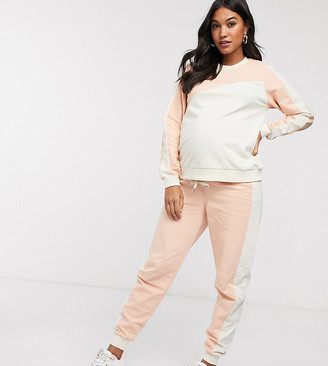 Asos DESIGN Maternity tracksuit colour blocked sweat / jogger
