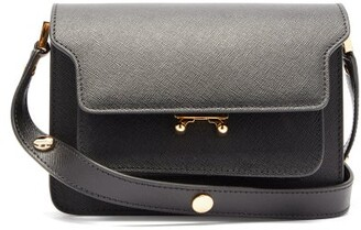 Marni Trunk Mini Saffiano-leather Shoulder Bag - Womens - Black