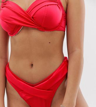 Asos Design DESIGN fuller bust exclusive drape wrap high leg hipster bikini bottom in glossy fabric-Red
