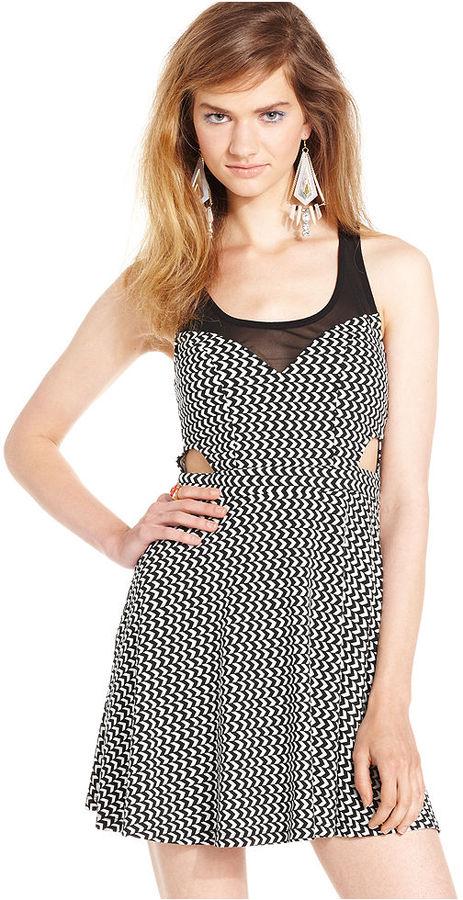 Material Girl Juniors Dress, Sleeveless Printed Illusion Skater