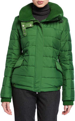 Loro Piana Badger Wind Stretch Short Cashmere-Lined Puffer Jacket