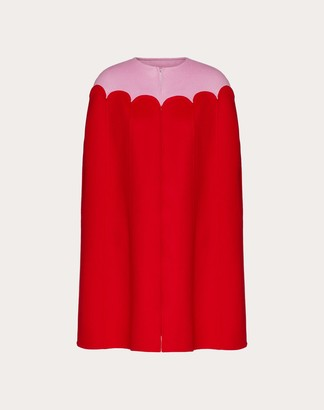 Valentino Two-tone Compact Wool Cape Women Red Virgin Wool 95%, Cashmere 5% 36