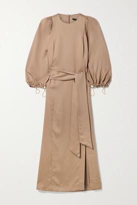 Mother of Pearl Claudia Belted Faux Pearl-embellished Lyocell-twill Midi Dress - Tan