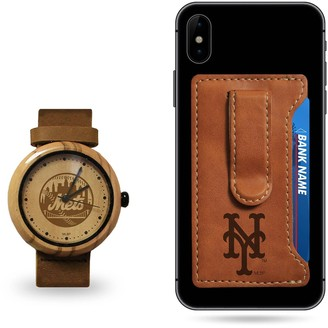 Sparo New York Mets Wood Watch and Phone Wallet Gift Set