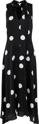 Wallis Black Polka Dot Keyhole Midi Dress