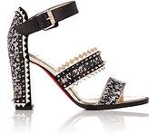 Christian Louboutin Women's Montezumina Spike Ankle-Strap Sandals-Black, White, Silver