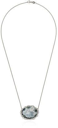Kimberly 18kt White Gold Diamond Framed Geode Necklace