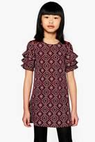 boohoo Girls Crochet Insert Ruffle Shift Dress