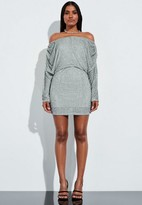 Missguided Silver Embellished Bardot Ruched Mini Dress