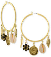 Rachel Roy Gold-Tone Charm Hoop Earrings