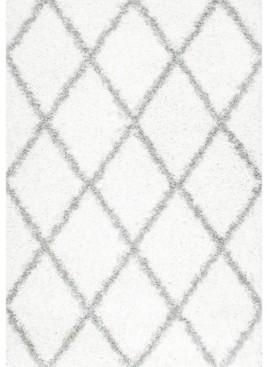 "nuLoom Easy Shag Cozy Soft and Plush Diamond Trellis White 5'3"" x 7'6"" Area Rug"