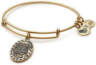 Alex and Ani Because I Love You Daughter Flower Charm Expandable Wire Bangle Bracelet