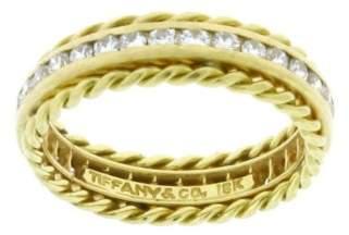 Tiffany & Co. 18K Yellow Gold 0.30ct. Diamond Two Row Ring Size 5